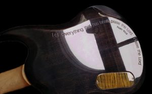 Inscribed with message, Custom special ordered guitar. Hand crafted work by King Blossom Guitar
