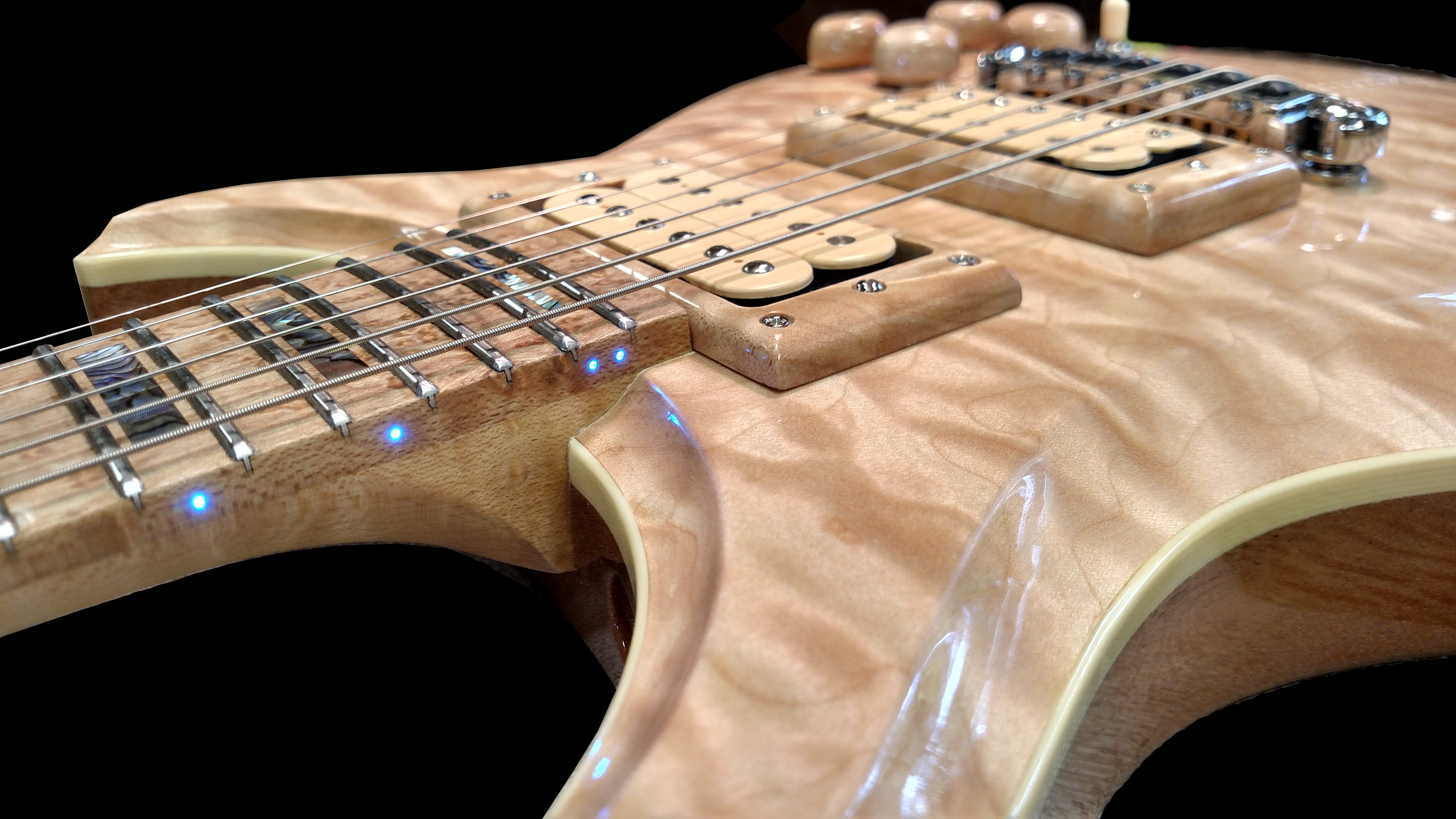 Custom special ordered fiber optic guitar. Hand crafted work by King Blossom Guitar